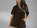 CONTRAST MOCK-WRAP TOP brown2